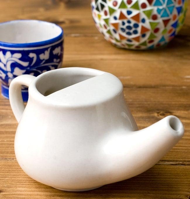 陶器のネティポット(鼻水差し)[ 長さ:約17cm 高さ:8cm]の写真