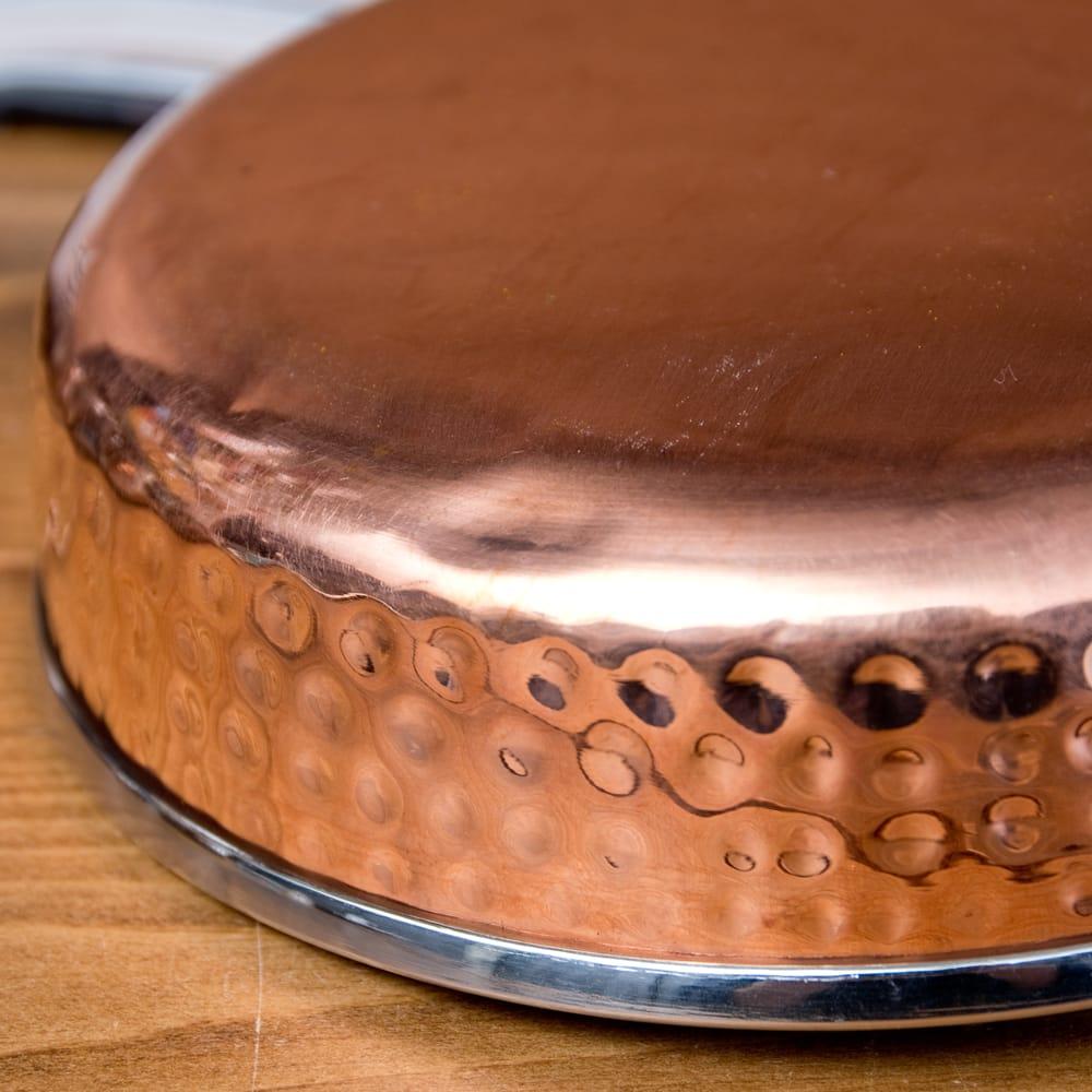 槌目付き 銅装飾のロイヤルソースパン(約16cm×4cm) 7 - 銅はアーユルヴェーダにおいて重視されており、また熱伝導率が優れているとされています。