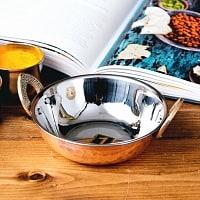 槌目銅装飾仕上げのステンレスカダイ[装飾持ち手付]サービングパン 食器・お皿〔約13.5cm〕