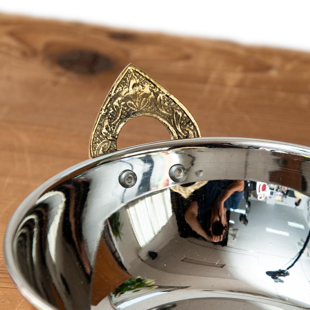 槌目仕上げ 銅装飾のカダイ [装飾持ち手付](直径:約15.3cm) 2 - 上からの写真です