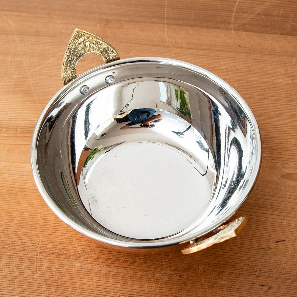 槌目仕上げ 銅装飾のカダイ [装飾持ち手付](直径:約15.3cm) 3 - 裏面です