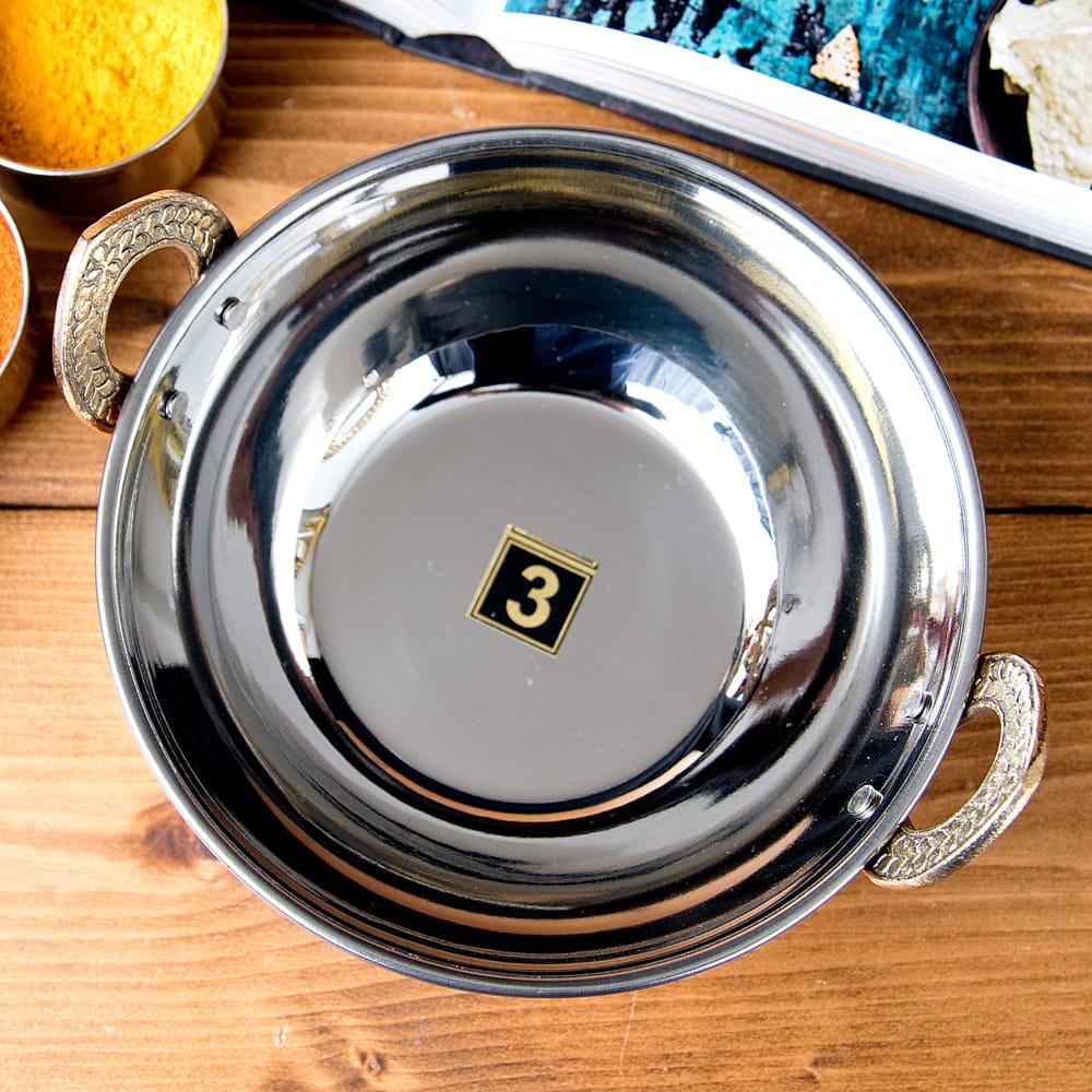 槌目仕上げ 銅装飾のカダイ [装飾持ち手付](直径:約17.5cm) 2 - 上からの写真です