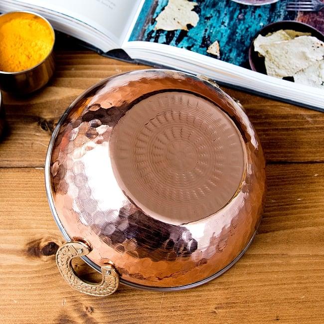槌目仕上げ 銅装飾のカダイ [装飾持ち手付](直径:約17.5cm) 3 - 裏面です
