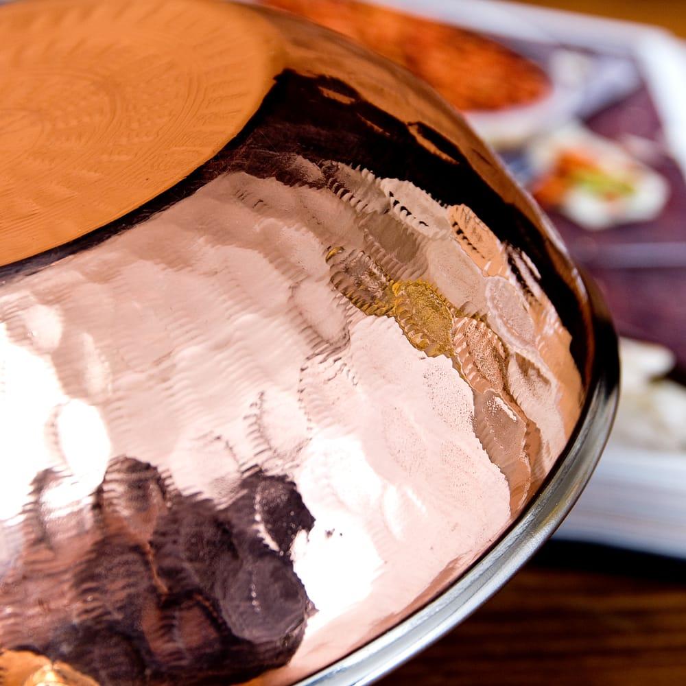槌目仕上げ 銅装飾のカダイ [装飾持ち手付](直径:約17.5cm) 5 - とても雰囲気があります