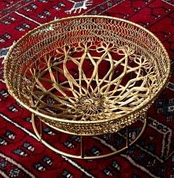 金色のメタルワイヤー飾り皿[直径:24cm]