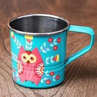 どこか懐かしいレトロテイスト 手描きカシミールペイントのミニマグカップ[直径:6cm x 高さ:5.9cm ] - フクロウ
