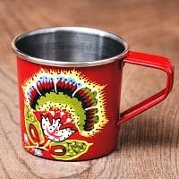 どこか懐かしいレトロテイスト 手描きカシミールペイントのミニマグカップ[直径:6cm x 高さ:5.9cm ] - 花模様