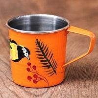 どこか懐かしいレトロテイスト 手描きカシミールペイントのミニマグカップ[直径:6cm x 高さ:5.9cm ] - 小鳥模様