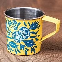 どこか懐かしいレトロテイスト 手描きカシミールペイントのミニマグカップ[直径:6cm x 高さ:5.9cm ] - 更紗模様