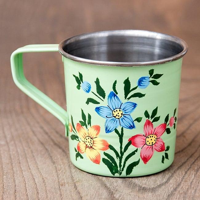 どこか懐かしいレトロテイスト 手描きカシミールペイントのミニマグカップ[直径:6cm x 高さ:5.9cm ] - 小花模様 2 - 反対側もキレイにペイントされています