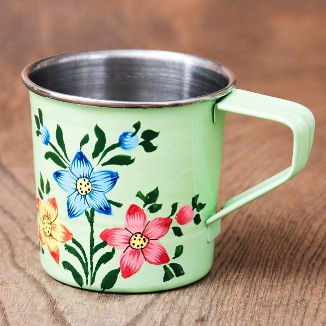 どこか懐かしいレトロテイスト 手描きカシミールペイントのミニマグカップ[直径:6cm x 高さ:5.9cm ] - 小花模様 1