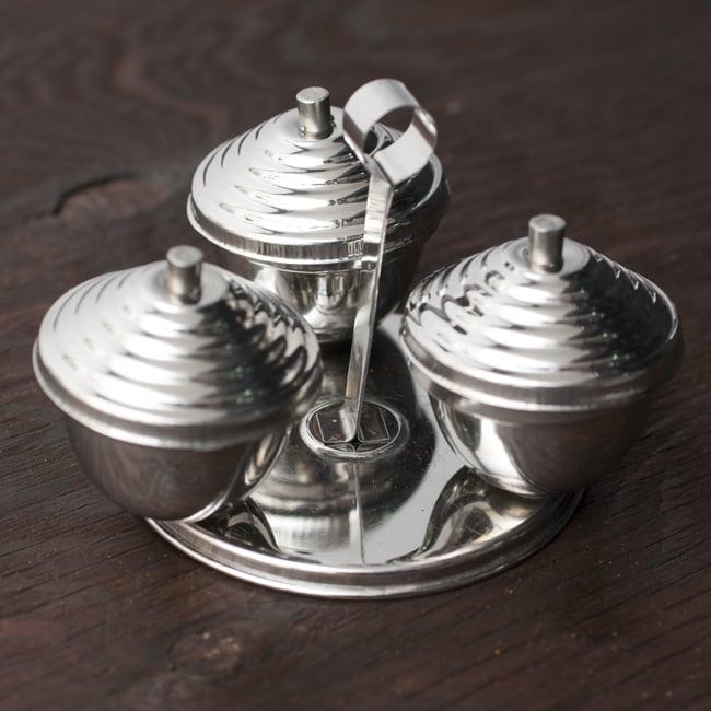 テーブルトップマサラケース【フタつき・3box】 4 - 可愛らしい形状です