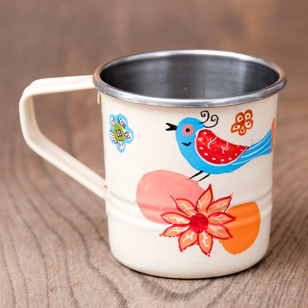 どこか懐かしいレトロテイスト 手描きカシミールペイントのミニマグカップ[直径:6cm x 高さ:5.9cm ] - 小鳥模様 2 - 反対側もキレイにペイントされています
