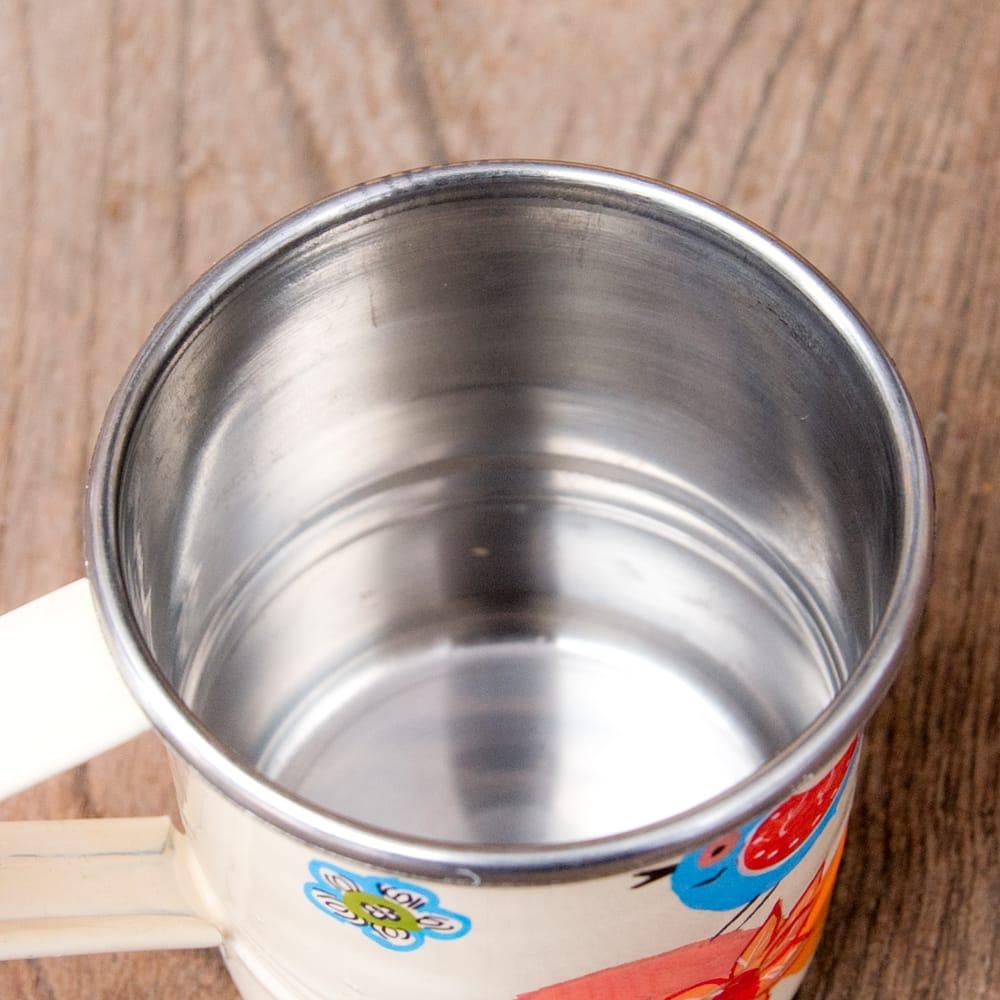 どこか懐かしいレトロテイスト 手描きカシミールペイントのミニマグカップ[直径:6cm x 高さ:5.9cm ] - 小鳥模様 7 - 中はステンレスのままなので、安心してご使用いただけます。