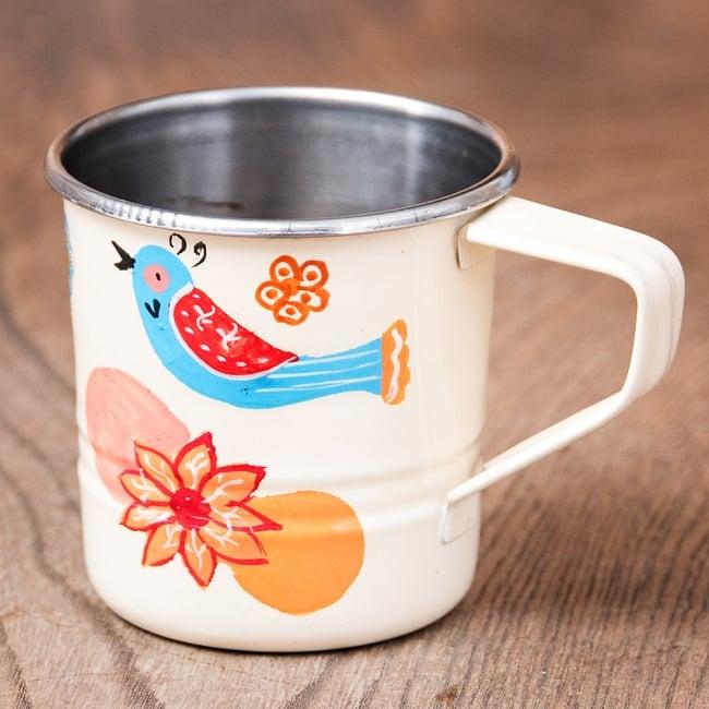 どこか懐かしいレトロテイスト 手描きカシミールペイントのミニマグカップ[直径:6cm x 高さ:5.9cm ] - 小鳥模様 1