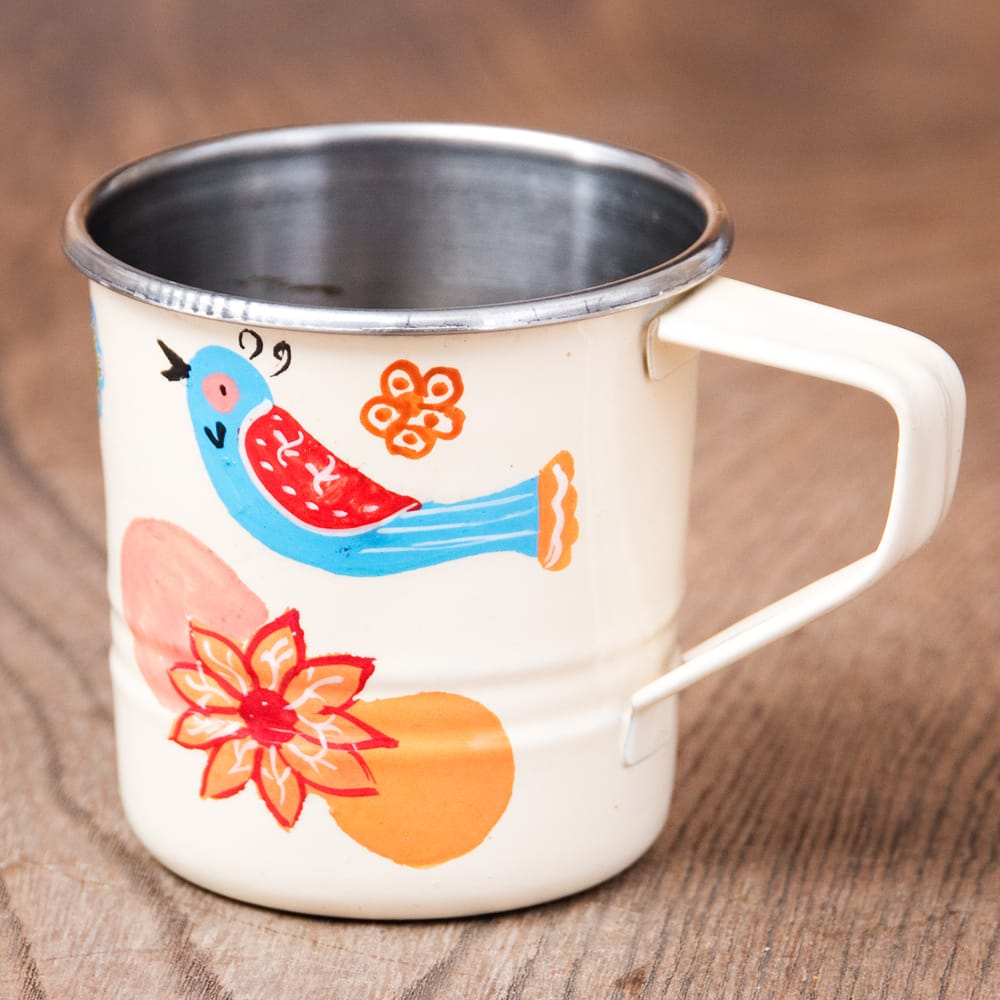 どこか懐かしいレトロテイスト 手描きカシミールペイントのミニマグカップ[直径:6cm x 高さ:5.9cm ] - 小鳥模様の写真
