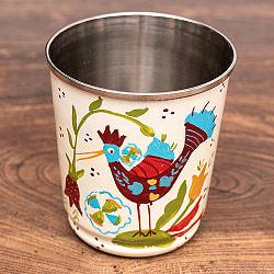 どこか懐かしいレトロテイスト 手描きカシミールペイントのチャイカップ[直径:6.4cm x 高さ:7.5cm ] - 鳥模様