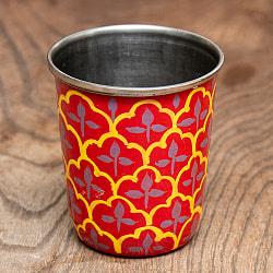 どこか懐かしいレトロテイスト 手描きカシミールペイントのチャイカップ[直径:6.4cm x 高さ:7.5cm ] - 伝統模様