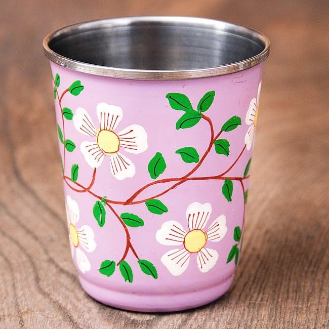 どこか懐かしいレトロテイスト 手描きカシミールペイントのチャイカップ[直径:6.4cm x 高さ:7.5cm ] - 更紗模様 1