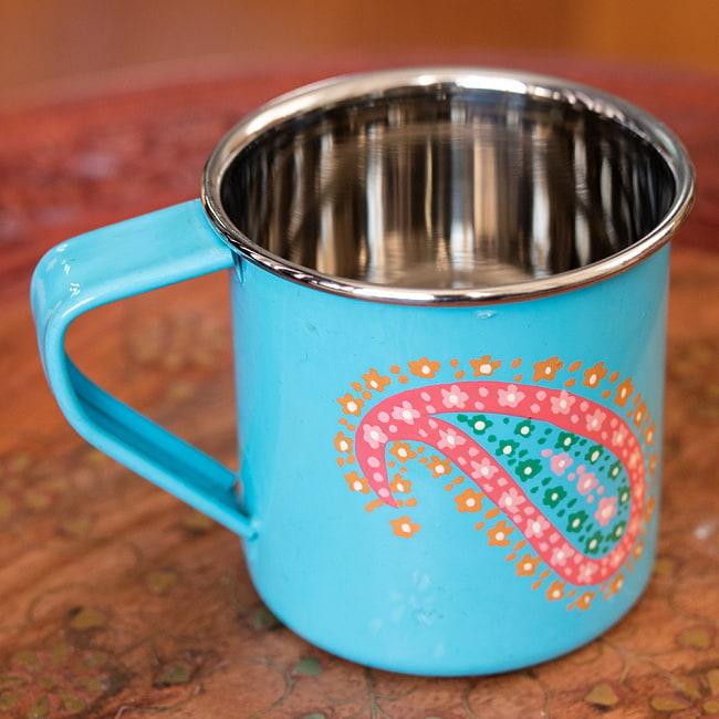 どこか懐かしいレトロテイスト 手描きカシミールペイントのマグカップ[直径:8cm x 高さ:7.6cm ] - 水色ペイズリー 2 - 反対側もキレイにペイントされています