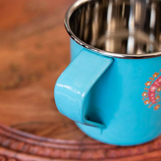 どこか懐かしいレトロテイスト 手描きカシミールペイントのマグカップ[直径:8cm x 高さ:7.6cm ] - 水色ペイズリー 6 - 手描きのぬくもりがあります