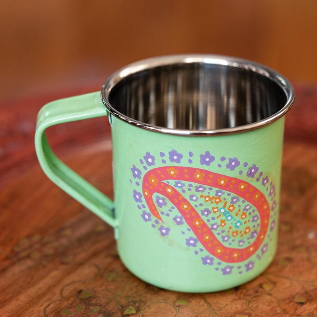 どこか懐かしいレトロテイスト 手描きカシミールペイントのマグカップ[直径:8cm x 高さ:7.6cm ] - グリーンペイズリー 2 - 反対側もキレイにペイントされています