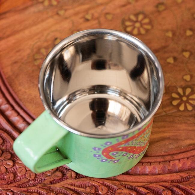 どこか懐かしいレトロテイスト 手描きカシミールペイントのマグカップ[直径:8cm x 高さ:7.6cm ] - グリーンペイズリー 7 - 中はステンレスのままなので、安心してご使用いただけます。