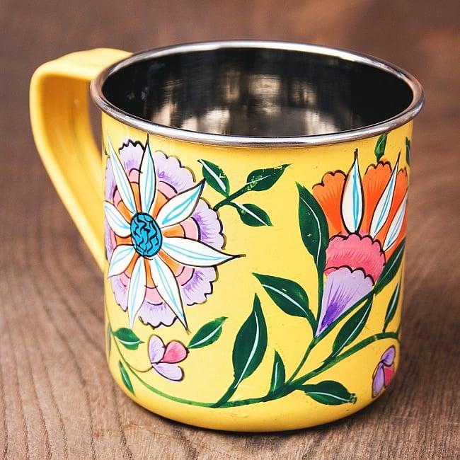 どこか懐かしいレトロテイスト 手描きカシミールペイントのマグカップ[直径:8cm x 高さ:7.6cm ] - 更紗模様 2 - 反対側もキレイにペイントされています