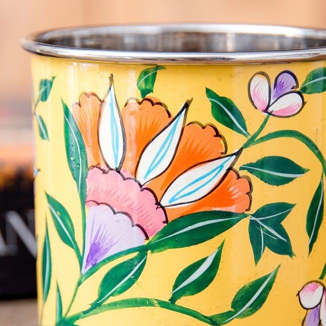 どこか懐かしいレトロテイスト 手描きカシミールペイントのマグカップ[直径:8cm x 高さ:7.6cm ] - 更紗模様 6 - 手描きのぬくもりがあります