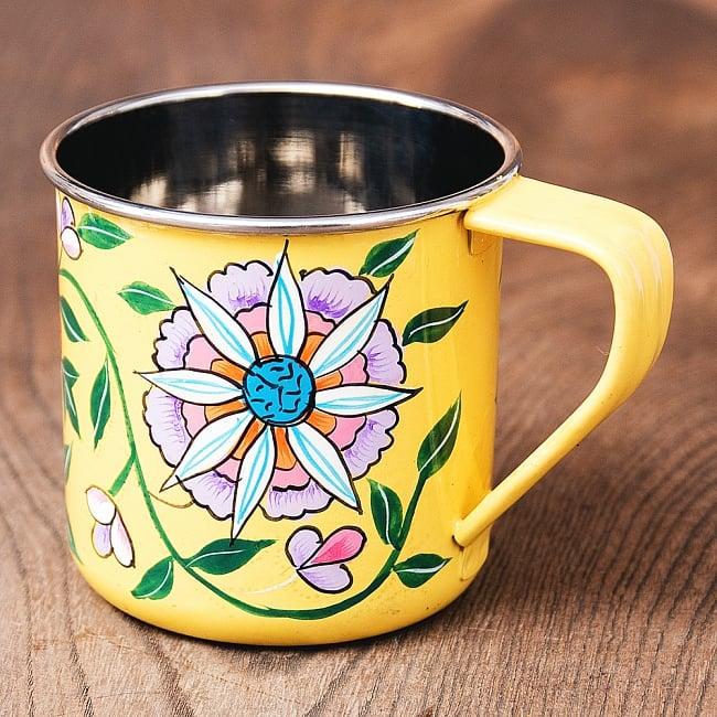 どこか懐かしいレトロテイスト 手描きカシミールペイントのマグカップ[直径:8cm x 高さ:7.6cm ] - 更紗模様の写真