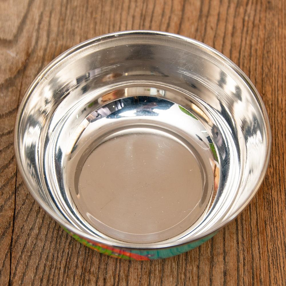 手描きカシミールペイントのカトリ・カレー小皿[直径:10cm x 高さ:3.5cm ] - ターコイズペイズリー 4 - 拡大写真です