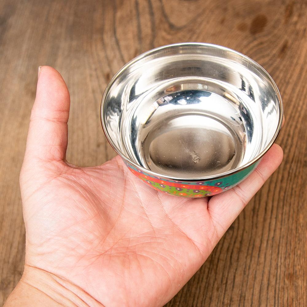 手描きカシミールペイントのカトリ・カレー小皿[直径:10cm x 高さ:3.5cm ] - ターコイズペイズリー 5 - 縁の部分です