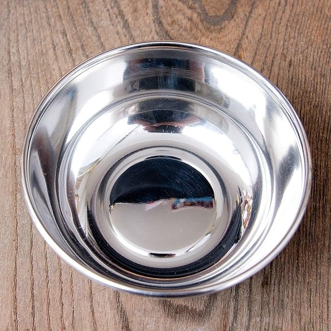 手描きカシミールペイントのカトリ・カレー小皿[直径:10cm x 高さ:3.5cm ] - ターコイズペイズリー 6 - 内側は使い勝手の良いステンレスです