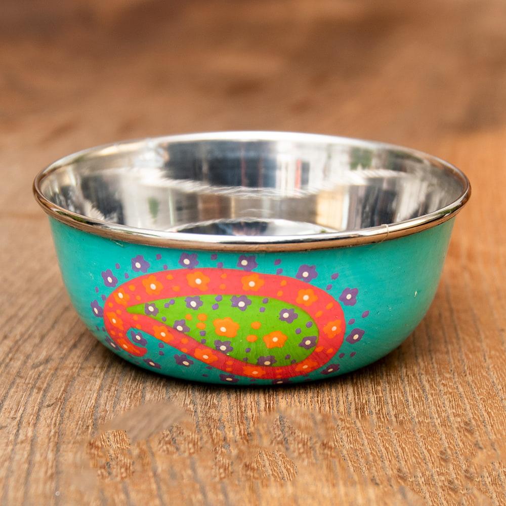 手描きカシミールペイントのカトリ・カレー小皿[直径:10cm x 高さ:3.5cm ] - ターコイズペイズリーの写真