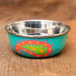 手描きカシミールペイントのカトリ・カレー小皿[直径:10cm x 高さ:3.5cm ] - ターコイズペイズリー
