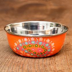 手描きカシミールペイントのカトリ・カレー小皿[直径:10cm x 高さ:3.5cm ] - オレンジペイズリー