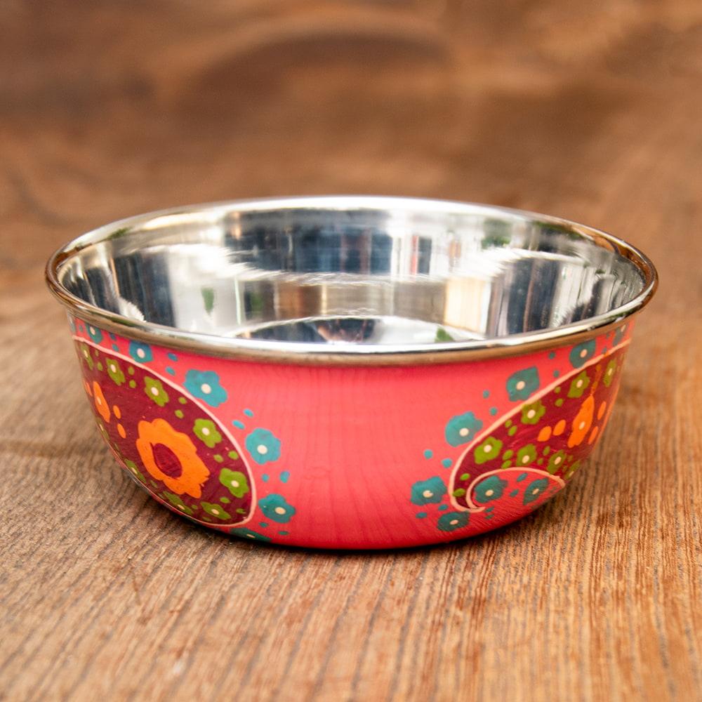 手描きカシミールペイントのカトリ・カレー小皿[直径:10cm x 高さ:3.5cm ] - ピンクペイズリー 2 - エナメルペイントが施されています