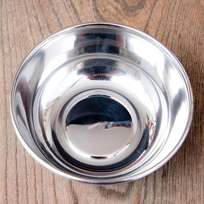 手描きカシミールペイントのカトリ・カレー小皿[直径:10cm x 高さ:3.5cm ] - ピンクペイズリー 6 - 内側は使い勝手の良いステンレスです