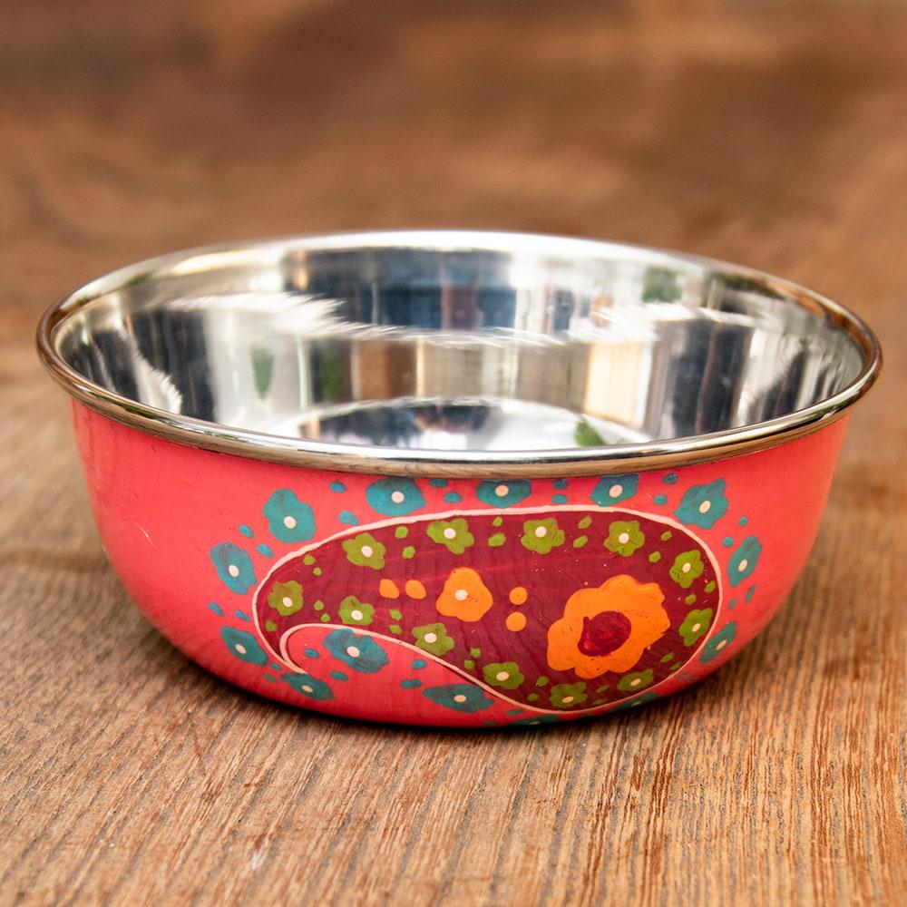 手描きカシミールペイントのカトリ・カレー小皿[直径:10cm x 高さ:3.5cm ] - ピンクペイズリーの写真