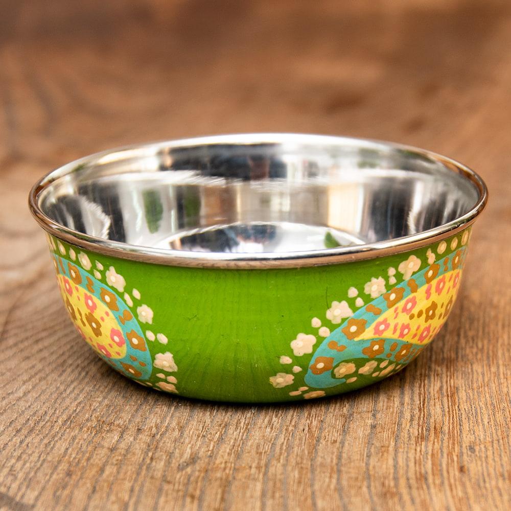 手描きカシミールペイントのカトリ・カレー小皿[直径:10cm x 高さ:3.5cm ] - グリーンペイズリー 2 - エナメルペイントが施されています