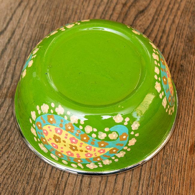 手描きカシミールペイントのカトリ・カレー小皿[直径:10cm x 高さ:3.5cm ] - グリーンペイズリー 3 - 反対面の写真です