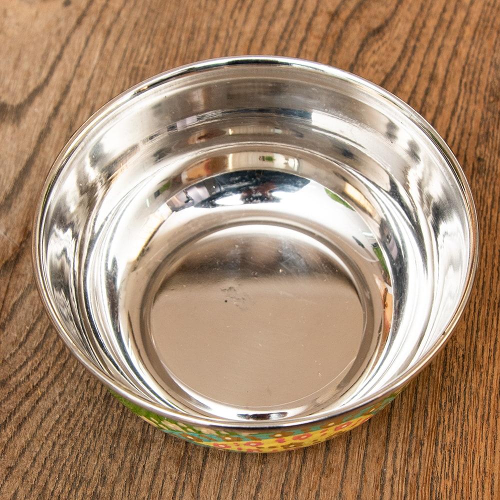 手描きカシミールペイントのカトリ・カレー小皿[直径:10cm x 高さ:3.5cm ] - グリーンペイズリー 4 - 拡大写真です