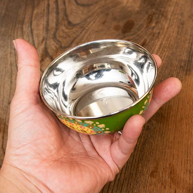 手描きカシミールペイントのカトリ・カレー小皿[直径:10cm x 高さ:3.5cm ] - グリーンペイズリー 5 - 縁の部分です