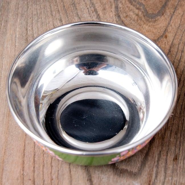手描きカシミールペイントのカトリ・カレー小皿[直径:10cm x 高さ:3.5cm ] - グリーンペイズリー 6 - 内側は使い勝手の良いステンレスです