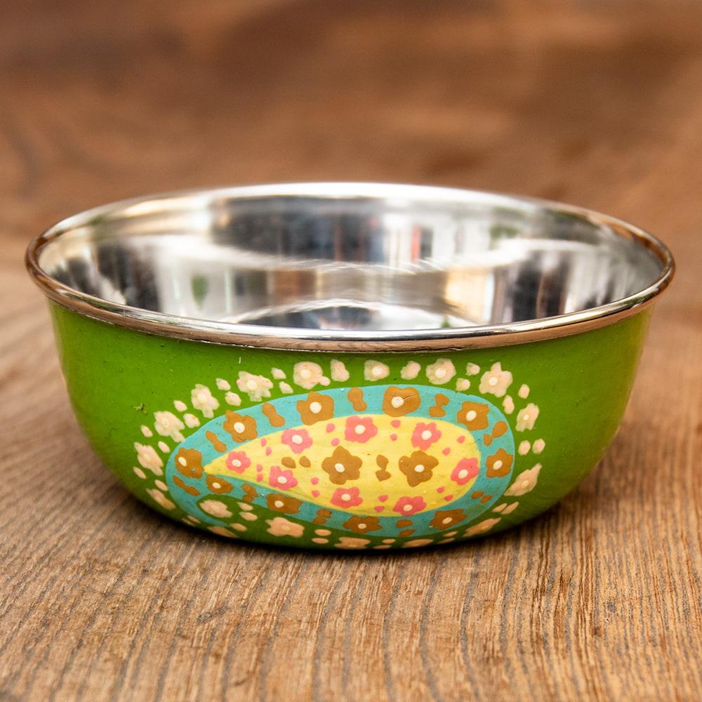 手描きカシミールペイントのカトリ・カレー小皿[直径:10cm x 高さ:3.5cm ] - グリーンペイズリーの写真