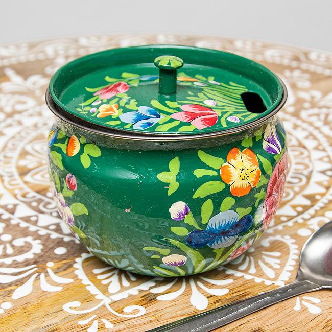 手描きカシミールペイントの壺型卓上シュガーポット ギーポット〔約8.5cm〕 - 更紗グリーン系 2 - 裏面にもキレイにペイントされております