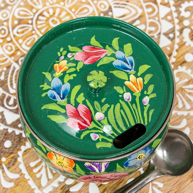 手描きカシミールペイントの壺型卓上シュガーポット ギーポット〔約8.5cm〕 - 更紗グリーン系 3 - 上からの写真です