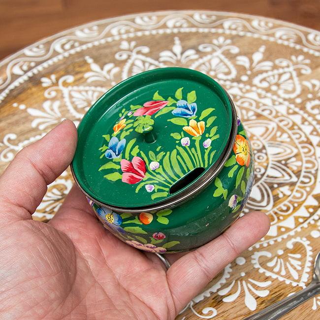 手描きカシミールペイントの壺型卓上シュガーポット ギーポット〔約8.5cm〕 - 更紗グリーン系 6 - 裏面です
