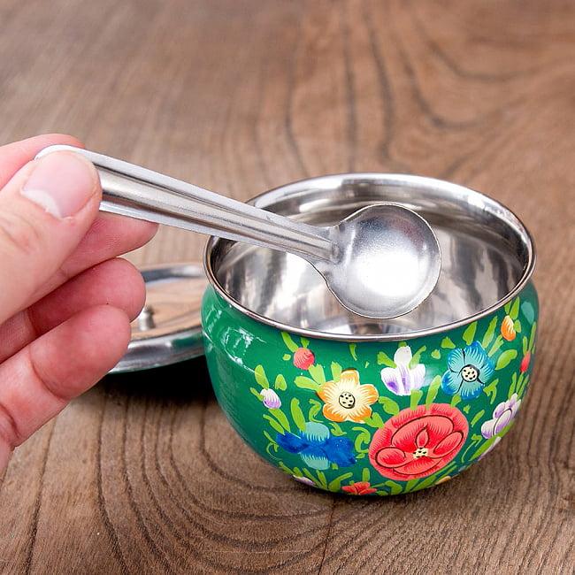 手描きカシミールペイントの壺型卓上シュガーポット ギーポット〔約8.5cm〕 - 更紗グリーン系 8 - 砂糖や塩、ギーなどさまざまな調味料を入れておけます。
