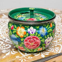手描きカシミールペイントの壺型卓上シュガーポット ギーポット〔約8.5cm〕 - 更紗グリーン系
